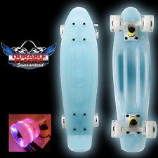 "GLOW BLUE IN THE DARK LED LIGHT 22"" Mini Plastic Cruiser Penny Style Skate board"