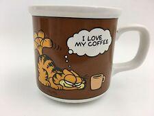 1978 Garfield Jim Davis I Love My Coffee Cup Mug Vtg Cat Tea 10 Oz Brown