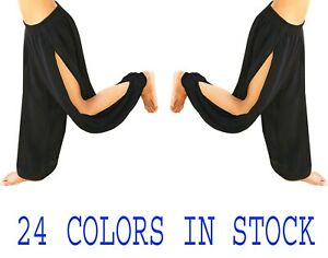 Pants Double Slits Harem Yoga Genie Trouser Belly Dance Wear Tribal S~3XL Black