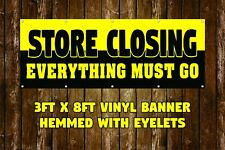 NEW STORE CLOSING VINYL BANNER 3' X 8' HEMMED WITH EYELETS BUSINESS STOREFRONT