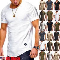 Men's Muscle T-shirt Slim Fit Sports V Neck Short Sleeve Plain Top Blouse Tee US