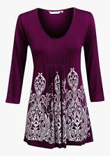 NEW EPILOGUE Ladies Purple JERSEY TUNIC Long Sleeve TOP TEE SHIRT Size 10 - 20