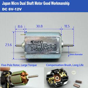 Mini 5-pole Rotor DC 6V-12V High Speed Micro 24mm Electric Motor Dual 2mm shaft