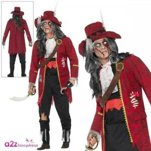 Deluxe Zombie Pirate Captain Hook Adult Ghost Ship Halloween Fancy Dress Costume