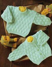 "SC4649 Vintage Knitting Pattern Baby Cardigans Sweater 12-22"" DK Prem - 2 years"