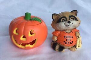 '82 '83 Hallmark Merry Minatures Jack-O-Lantern Container Trick or Treat Raccoon
