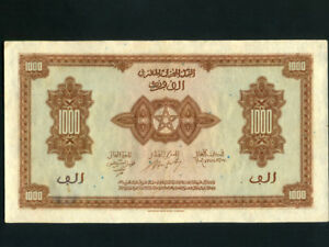 Morocco:P-28,1000 Francs,1943 * French Rule * AUNC *
