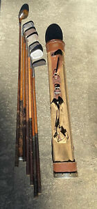 HOLIDAY GIFT Antique hickory wood shaft golf Clubs and Canvas Stovepipe Bag
