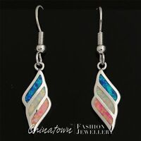 LAB BLUE WHITE PINK LAB FIRE OPAL MIXED INLAY SILVER SF JEWELRY DANGLE EARRINGS