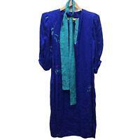 VTG Flora Kung Maxi Belted Dress Women's 10 Blue Green Silk Tie Front 3/4 Sleeve