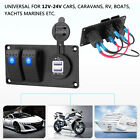 2 Gang Waterproof Circuit Blue LED Rocker Switch Panel Breaker Car Marine Boat