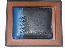 Coach Men's  Black/ Denim Blue Rip & Repair Leather Wallet 75212B NWT $150