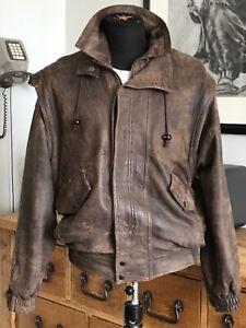 Proper Blokes Vintage 80's,  42'' Chest, Large, Brown Real Leather Bomber Jacket