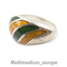 925 Sterling Silber Band Ring Emaille Grün Orange silver enamel green yellow