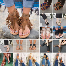 Casual Womens Flat Low Wedge Heels Espadrilles Sandals Boho Summer Holiday Shoes