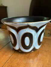 Vintage Zuid Holland Gouda, Cameo Royal, Black/White Flower Pot, 2671/14, c.1950