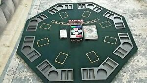 CASINO POKER'S CHOICE FOLDING POKER TABLE TOP W/ CHIPS & CARDS