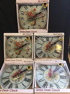 Lot Of 5 Glass Desk Clock Tower Bridge By My Momentum Brands 50-718310 New D7