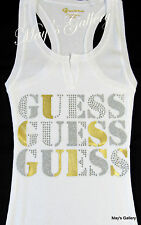 GUESS Jeans studded Glitter Tank T-shirt Tee T shirt  Top Blouse  White  NWT  M