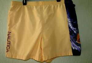 Nautica Vtg. men's trunks size M Lined Elastic Waist Quick Dry Embroidered log