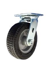 Heavy Duty Plate Swivel Caster Wheel 8 Inch Pneumatic Tire