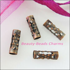 100Pcs Flower Tube Spacer Beads Connectors 3x9mm Antiqued Copper Plated