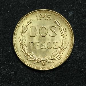 1945 2 Pesos Dos Pesos Mexico Gold Coin