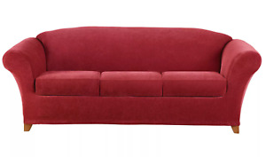Stretch Pique 4 piece stretch Sofa Slipcover Garnet red by sure fit washable