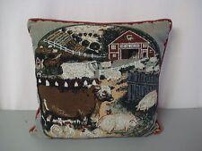 "USA Made NWOT Barnyard Animals 18"" x 18"" Tapestry Throw Pillow #199"