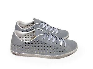 scarpe sneakers basse uomo grigie Borchie argento sferiche m