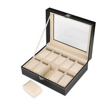 Watch Box Organizer For Men And Women - Jewelry Watch Case Display (10 Slot)