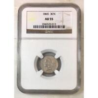 1865 Three Cent Nickel NGC AU55 *Rev Tye's* #001393