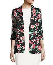 $139 Calvin Klein Womens 4 Black Flyaway Cuffed Open-Front Blazer Jacket Floral