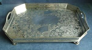 """SUPERB ~ LARGE & Heavy 19"""" ~ SILVER Plated ~ ENGRAVED Gallery TRAY ~ c1890"""