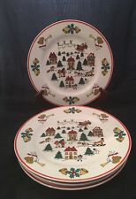 "Set of 4 Jamestown China Joy Of Christmas Holiday Dinner Plates 10 1/4"" Vintage"