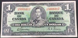 Canada One Dollar,1937,P-58,George VI,VF