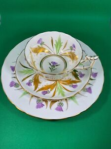 STUNNING ROYAL CHELSEA CHINA TEA CUP SAUCER TRIO PURPLE GREEN & GOLD THISTLE