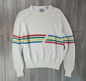 Rare Vintage 80's Lacoste Knit Sweater Size Medium Rainbow Pullover Blue Label