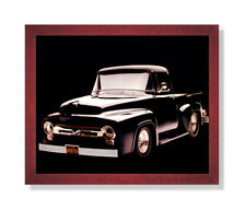 1956 Black F-100 Ford Pickup Truck Wall Picture Cherry Framed Art Print