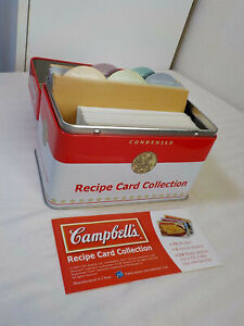 CAMPBELL'S RECIPE CARD COLLECTION IN TIN BOX PLUS MORE RECIPE CARDS