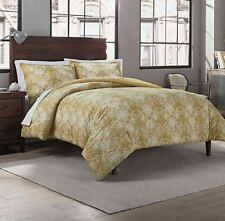 Garment Washed Medallion Printed 3-Piece King Comforter Set in Gold