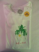 "NWT Life is Good.®_Women's Classic Fit ""LIG-Palm Tree""  S/S Crew-Neck Tee (M)"