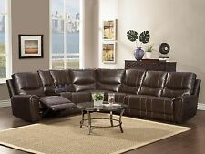 Modern Living Room Brown Bonded Leather Reclining Sofa Couch Sectional Set IF50