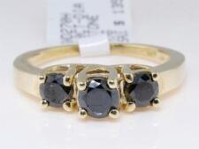 14K Ladies Round Cut 3 Stone Black Diamond Engagement Wedding Band Ring 1.00 Ct