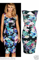 Womens Ladies Celeb Inspired  Floral Print Stretch Bodycon Party Dress UK 8-14