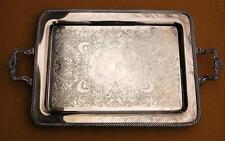 """Eagle Wm Rogers Star #792 Silverplate Footed Serving Tray 29.5"""" Overall Handles"""