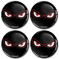 55mm 3D Silicone Stickers Decals Wheel Center Hub Rims Caps No Fear Eyes Black