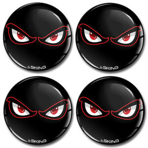 70mm 3D Silicone Stickers Decals Wheel Center Hub Rims Caps No Fear Eyes Black
