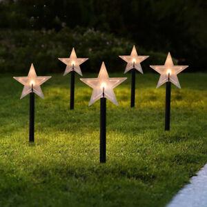 5 Pack Solar Garden LED Lights Waterproof Landscape Pathway Lawn Lamp Stake