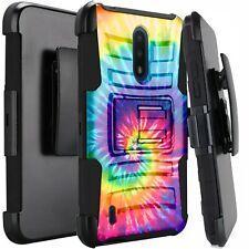 Holster Case For Nokia C2 Tava /C2 Tennen Hybrid Phone Cover - TIE DYE SWIRL